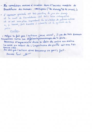 Critiques d'élèves 3